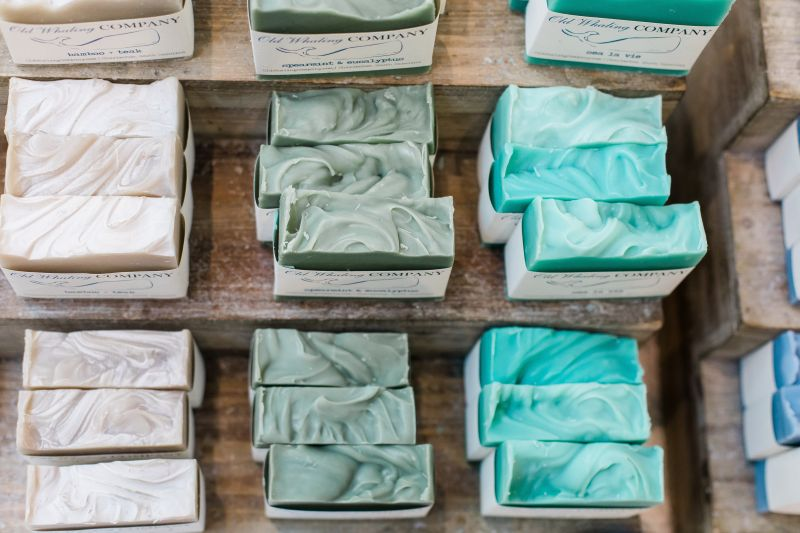 Bars of coloured soaps