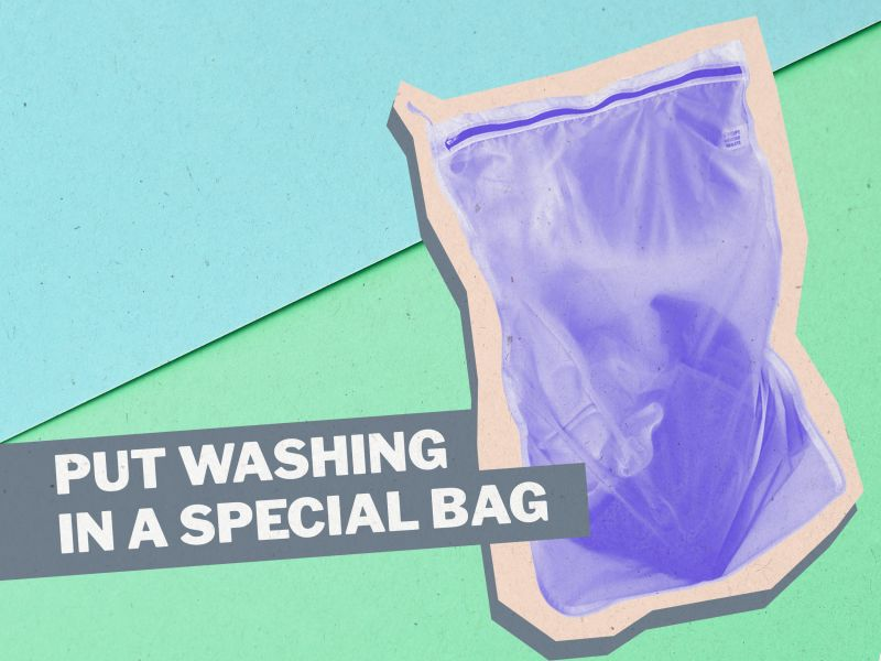 Graphic of a zip bag for use in a washing machine with the words PUT WASHING IN A SPECIAL BAG in capital letters