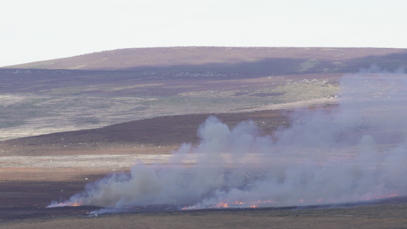 Photo of moorland landscape with grey smoke and flames