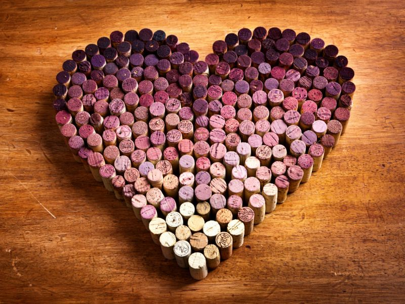 Wine corks lined up to form a love heart