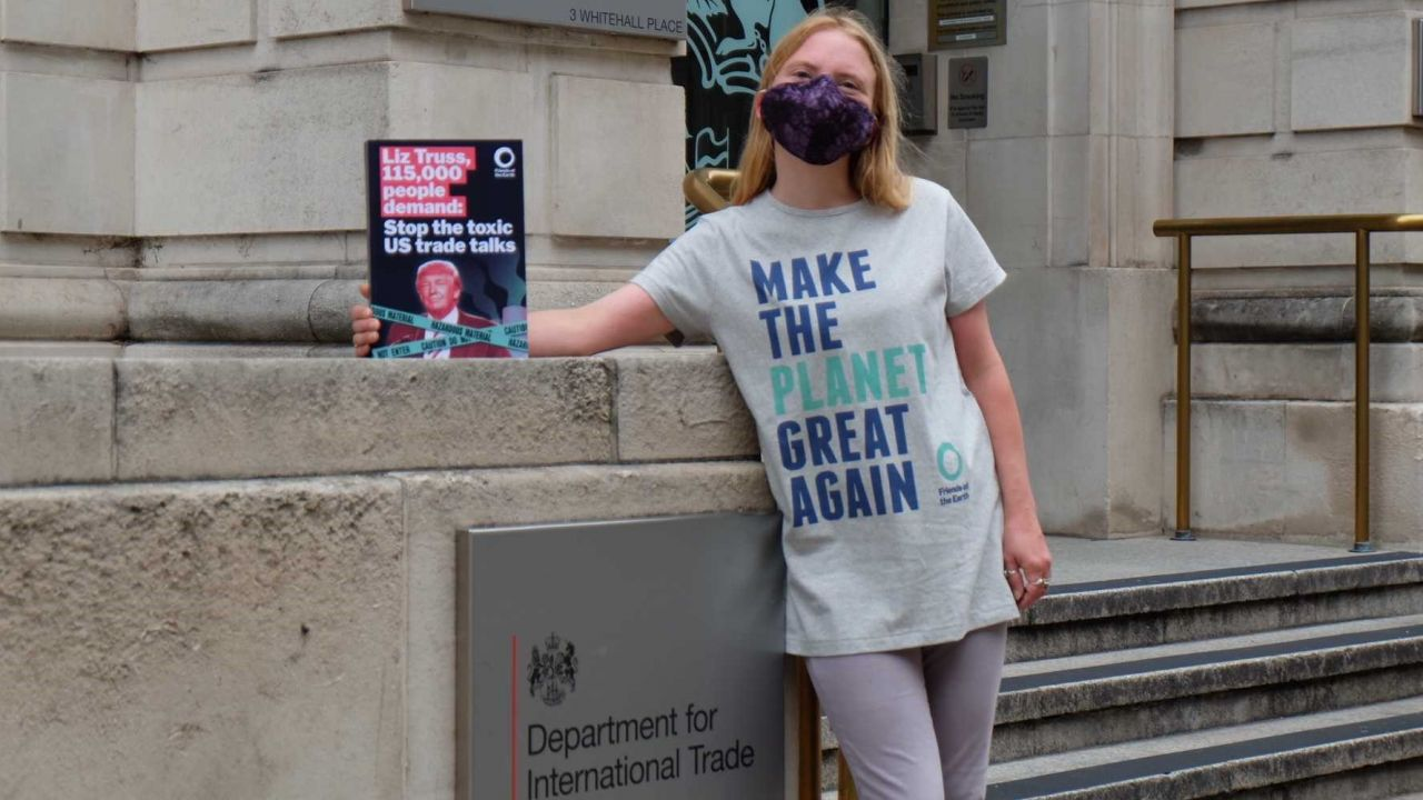 Supporter outside Department for International Trade
