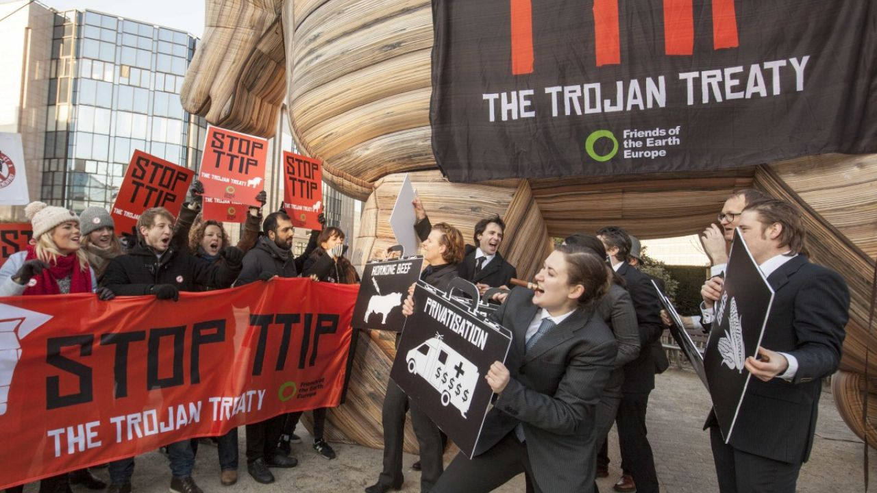 Friends of the Earth Europe action against TTIP (The Transatlantic Trade and Investment Partnership), referred to as a Trojan Treaty, outside the Eurpoean Commission, Brussels, Belgium 4 February 2015