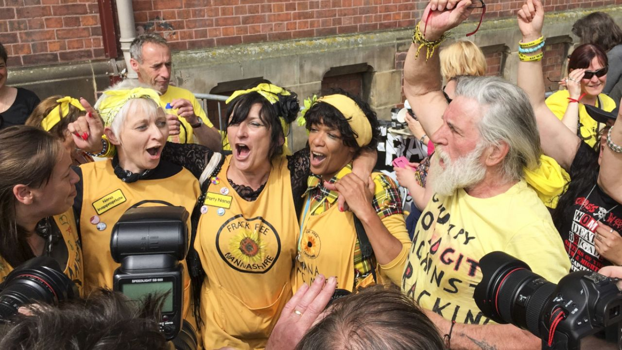 The moment Lancashire County Council reject Cuadrilla's application to frack at Preston New Road in Little Plumpton, Lancashire. Local residents, Friends of the Earth and anti-fracking protestors outside Lancashire County Council (County Hall), Preston, 29 June 2015