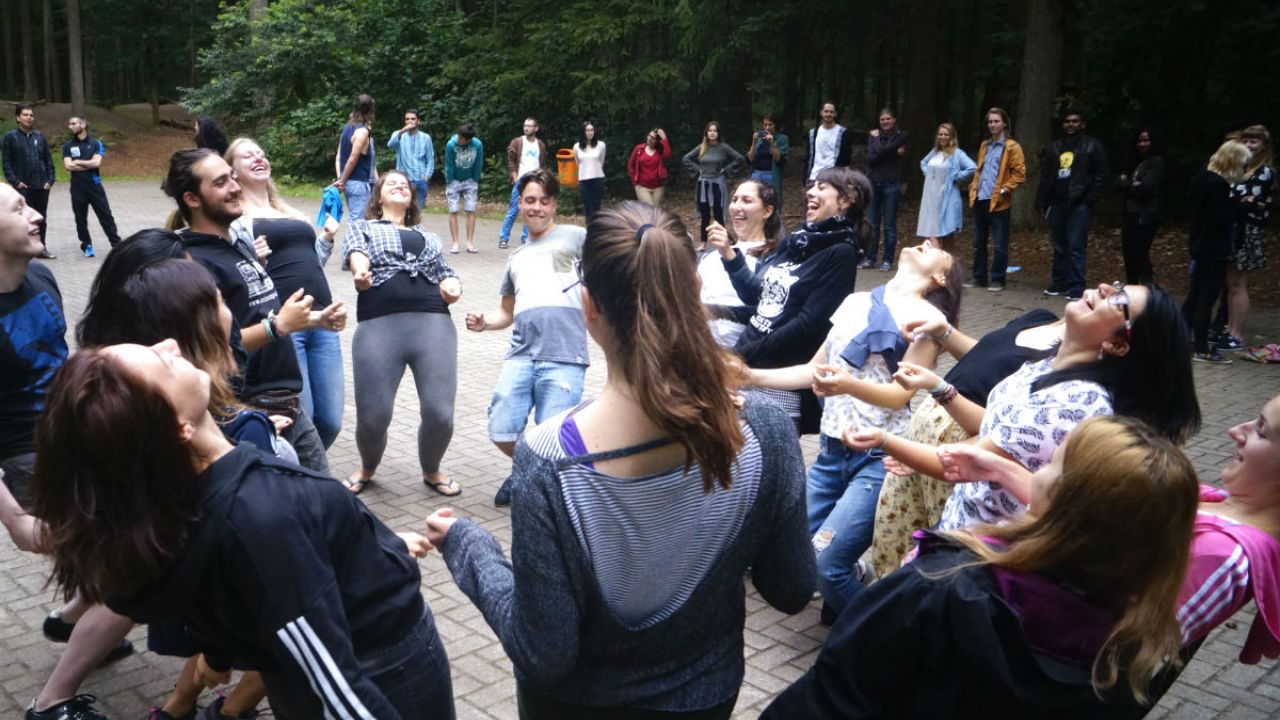 Young Friends of the Earth Europe members enjoying some leisure time at their annual summer camp