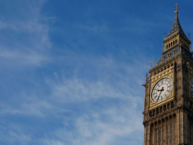A close up of Big Ben, Houses of Parliament, London