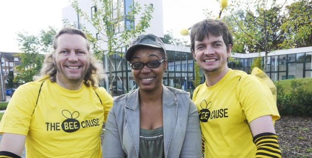 3 Bee Cause campaigners in campaign T-shirts at Bee World in Lewisham.