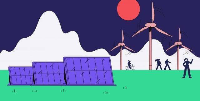 An illustration showing solar panels, active travel and a wind farm.
