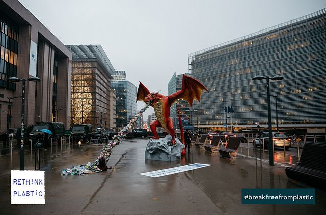 Plastic-spewing dragon in Brussels