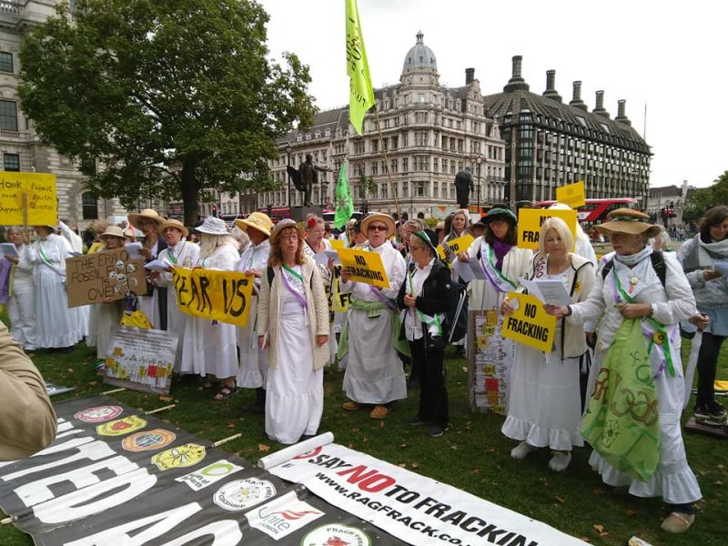 Leicester local group joined a suffragette anti-fracking protest.