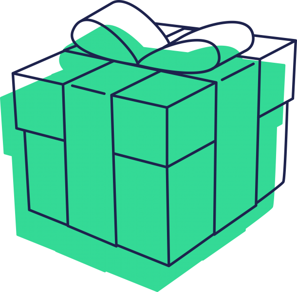 Green icon of a present