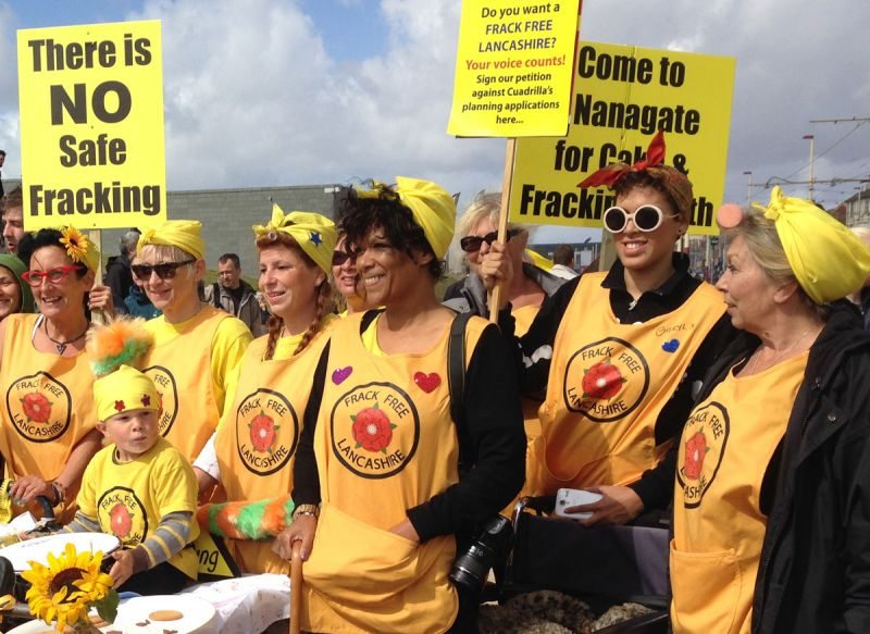 The yellow-clad Nanas in street protest against fracking