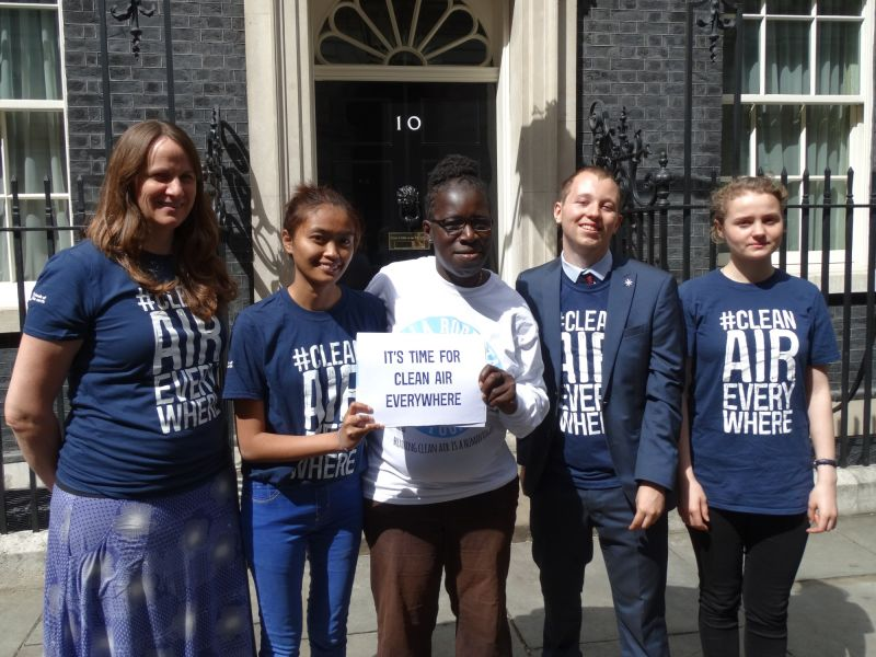 My World My Home graduates, delivering the Clean Air Everywhere petition to No.10