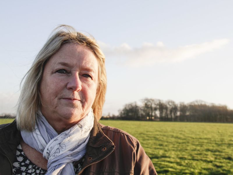 Barbara Richardson, Roseacre resident and a primary school teaching assistant, photographed here at the end of her driveway which is the proposed Roseacre fracking site, 500m from her house.