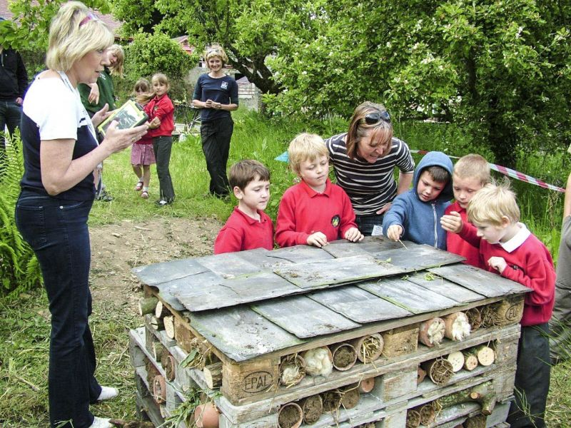 Children making a large bee hotel