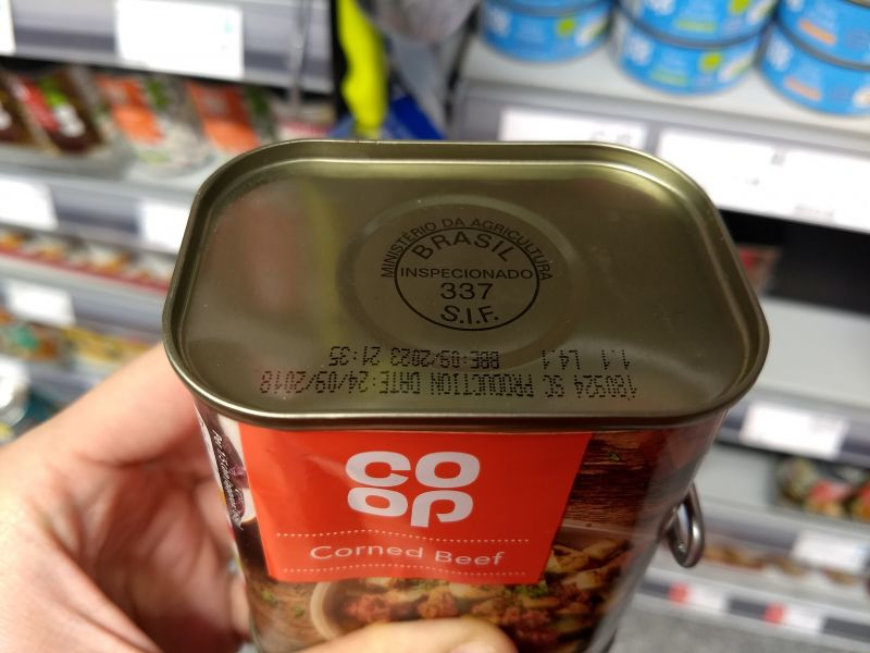 A can of co-op corned beef