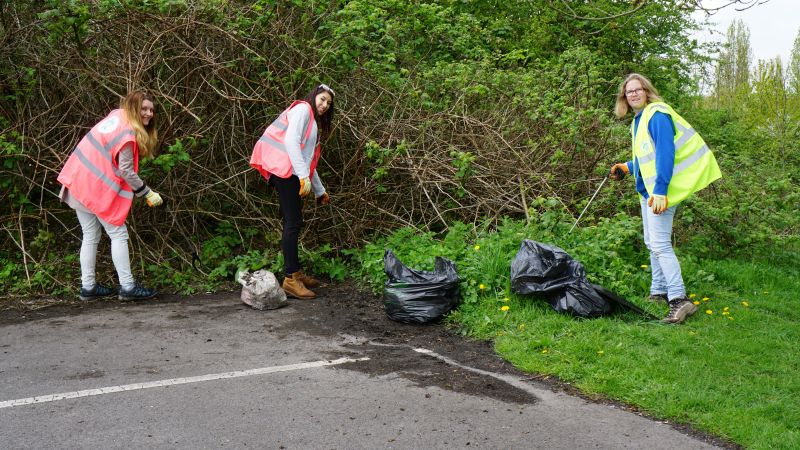 Volunteers clear a park of plastic rubbish in Chester