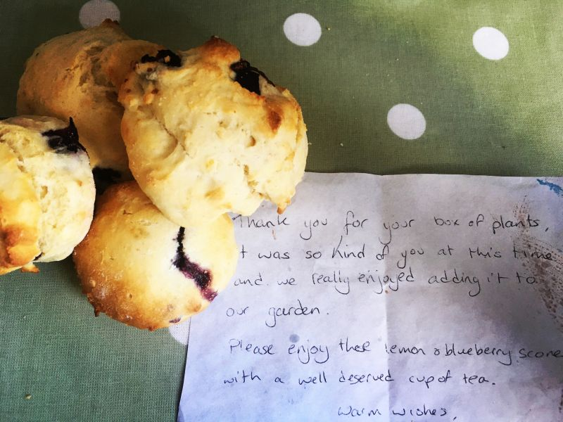 Homemade scones and a thank you letter
