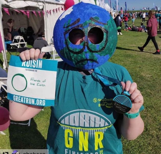 Earth head made by supporter for Great North Run 2019