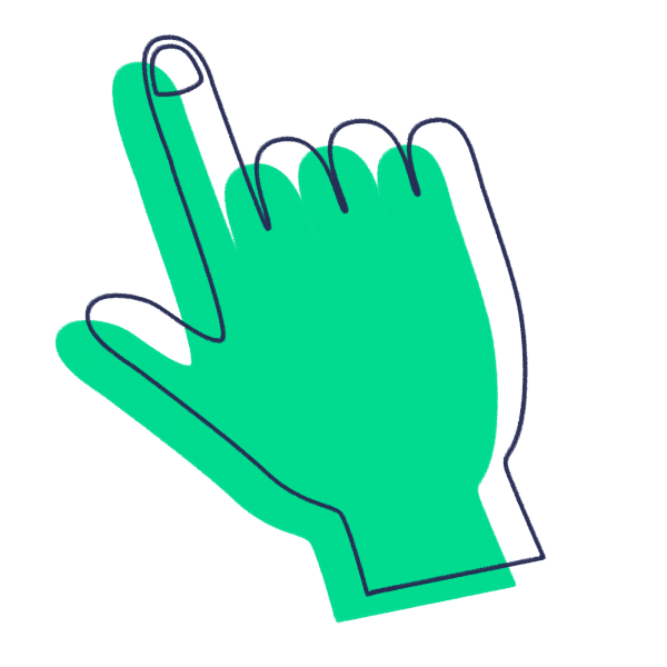 Green icon of hand pointing