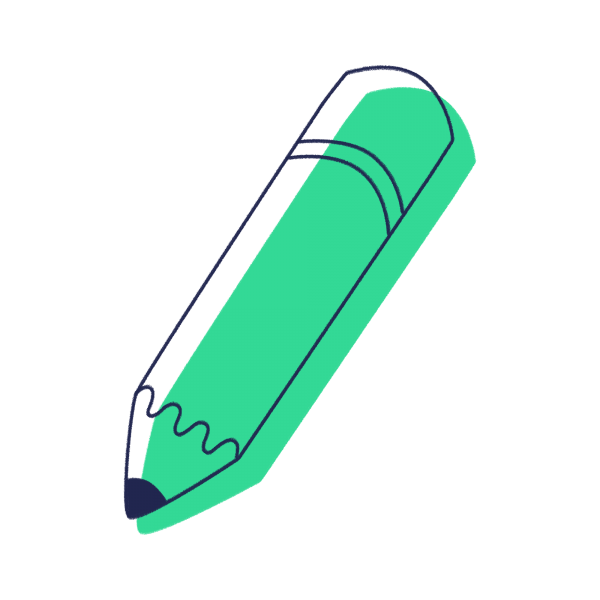 Green icon of a pencil