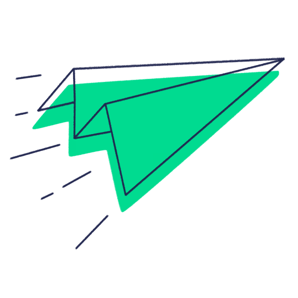 Green icon of a paper aeroplane