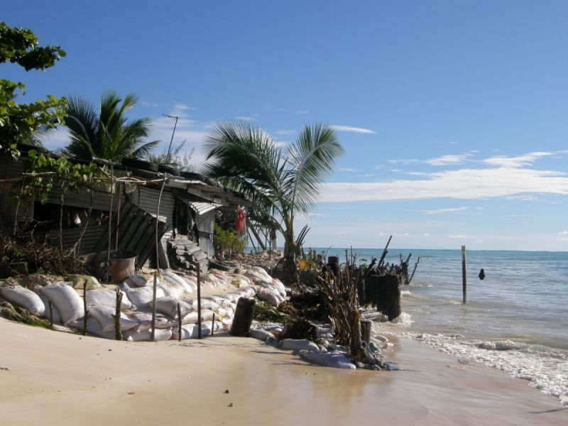 Coastal erosion threatens people's homes on the Pacific island of South Tarawa