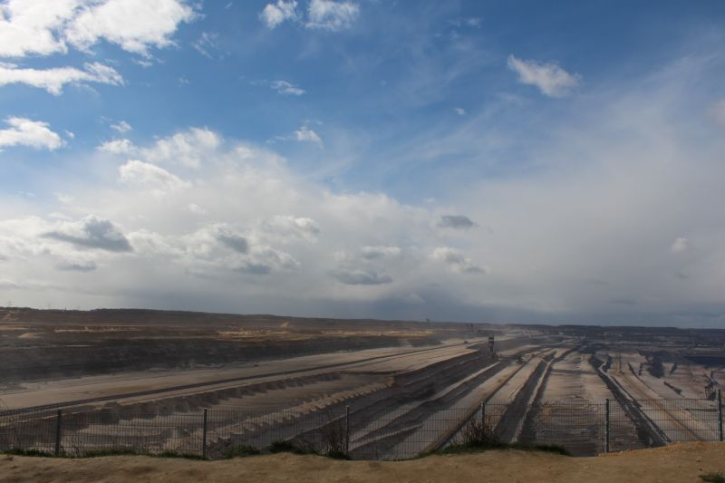 The enormous Hambacher surface mine stretches to the horizon