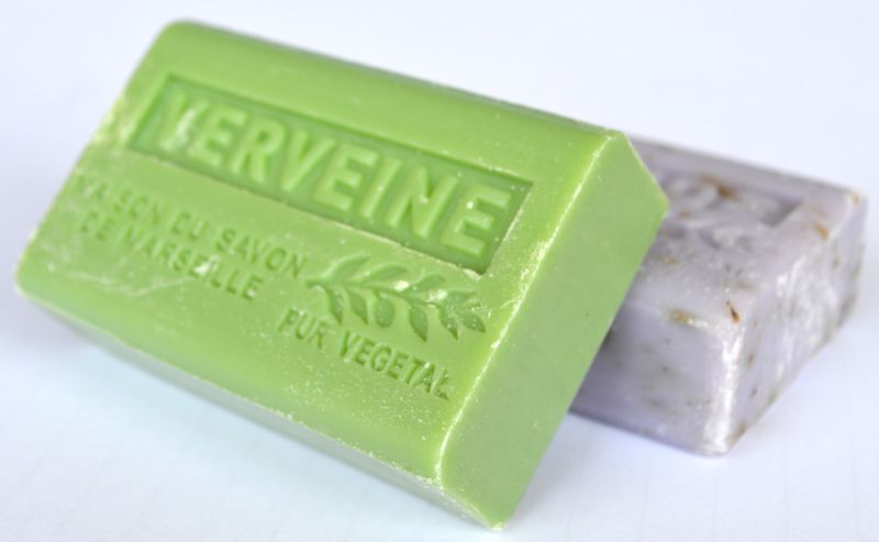 Bars of green lemon verbena and purple lavender soap