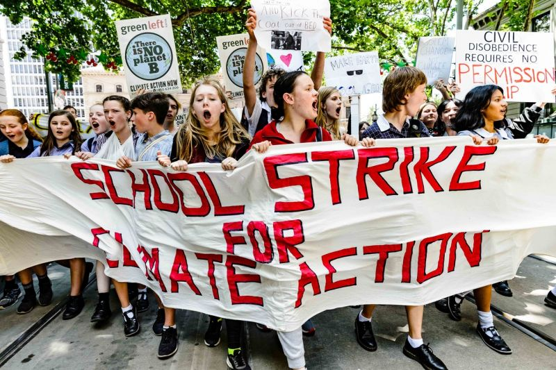 Young people protesting in Australia