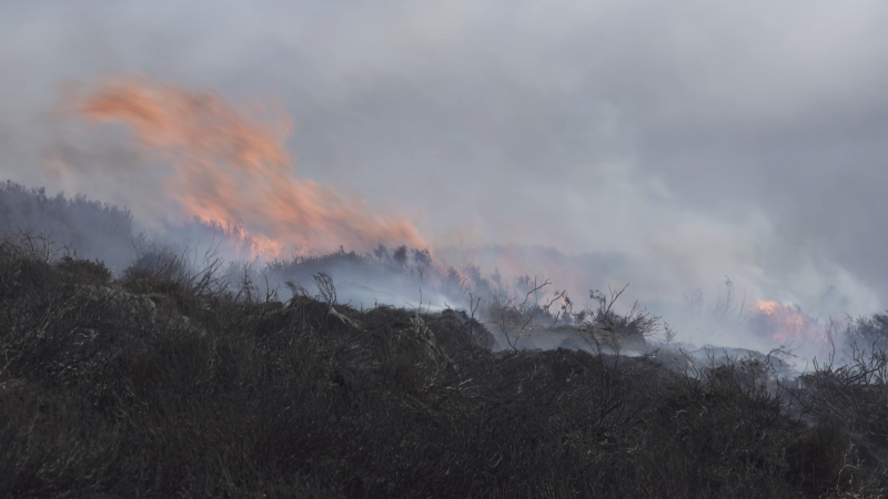 Photo of moorland in flames, Yorkshire Dales, 2018