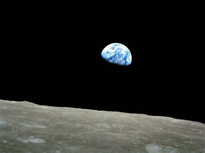 Earthrise: the first colour photo of the Earth from space taken by the Apollo 8 mission