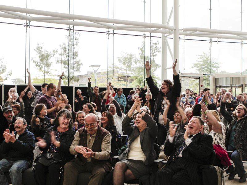 Local communities celebrate the council's unanimous decision to reject an application for a new opencast coal mine, in Nant Llesg, near Merthyr Tydfil in south Wales, Caerphilly County Council, 5 August 2015