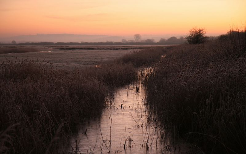 Otmoor at dawn. Looking across wetlands. Flooded ditch leads from foreground to horizon.