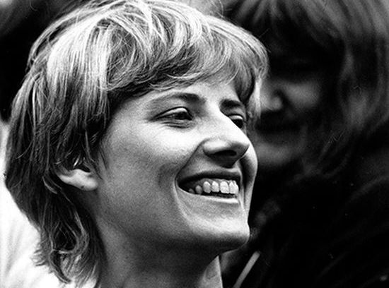 Petra Kelly at Green Party rally, Bonn 1982