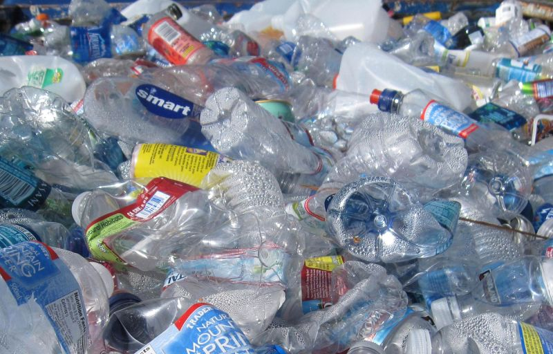Heap of empty, squashed plastic bottles ready for recycling