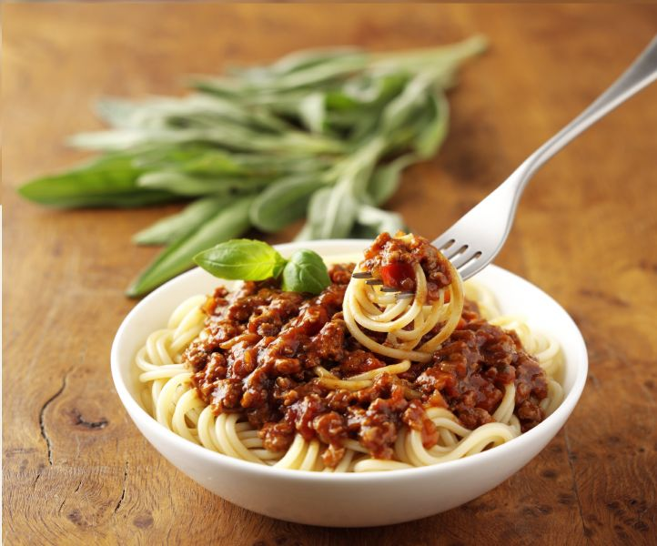 bowl of meat free spaghetti bolognese made with quorn