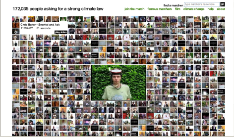 A screenshot of the Big Ask online campaign where supporter uploaded their own videos to put pressure on MPs to support a climate change law
