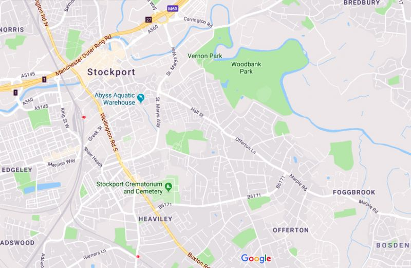 Google map showing Stockport centre south east to Foggbrook