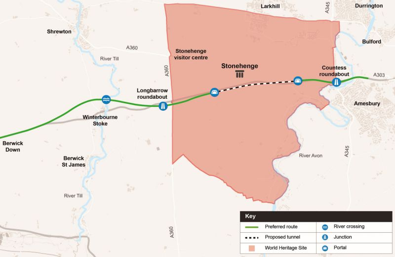 Highways England map showing proposed tunnel route through Stonehenge landscape