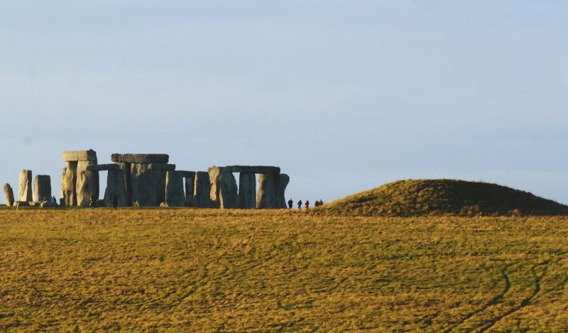 Stonehenge landscape with burial mound
