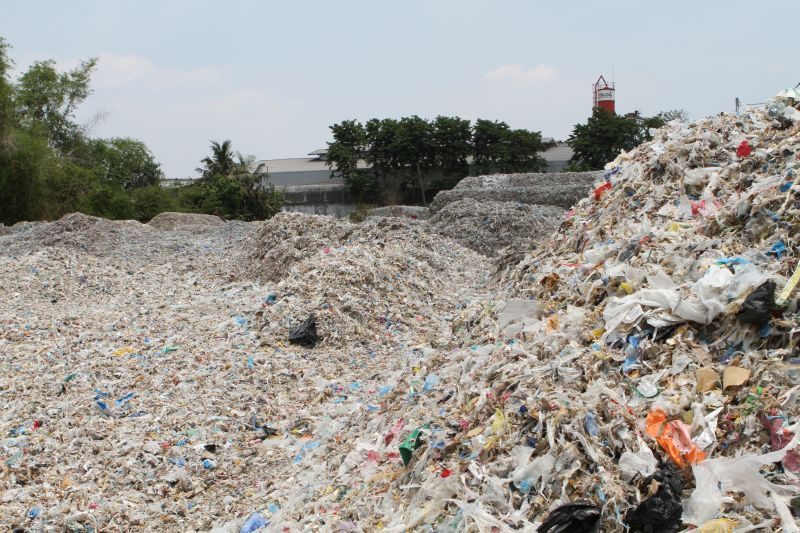 A dump of waste plastic on the outskirts of Surabaya