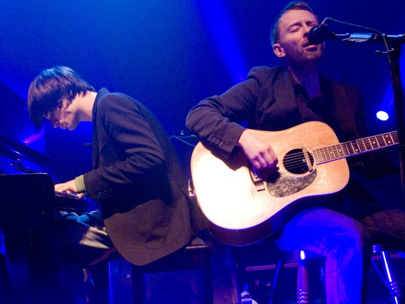 Thom Yorke and Jonny Greenwood (Radiohead) performing an acoustic set at The Big Ask Live climate change benefit gig at Koko, Camden.