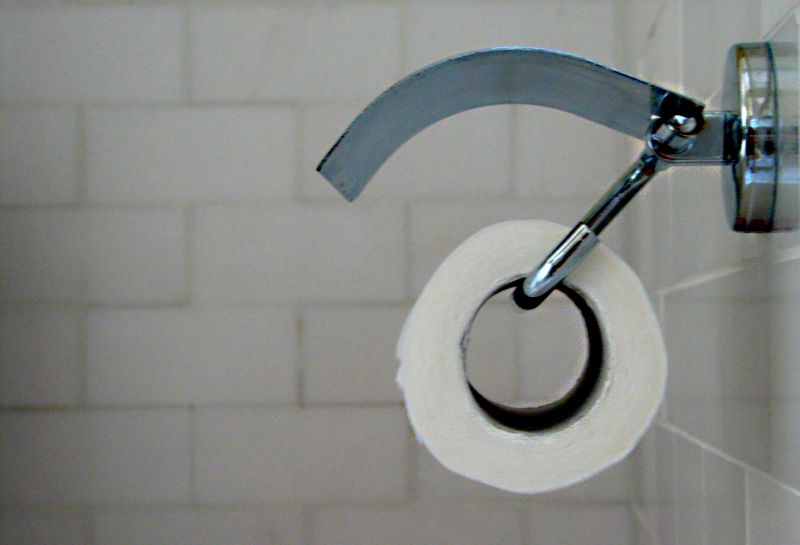 A roll of toilet paper in a holder on a bathroom wall