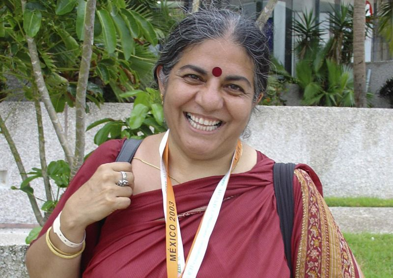 Dr Vandana Shiva, smiling, in Cancun, Mexico