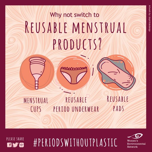 Graphic showing reusable menstrual products