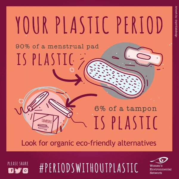 graphic explaining plastic content of a sanitary pad and a tampon