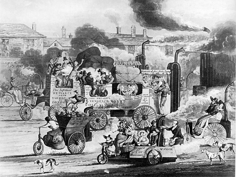 "A satire on the coming age of free-running steam carriages (which largely never materialized, but see Walter Hancock). The two large steam coaches are named ""The Infernal Defiance — From Yarmouth to London"" and ""The Dreadful Vengeance — Colchester, London"". On the rear of the coach in front is a banner proclaiming ""Warranted free from Damp"", the small delivery wagon has ""Bread served Hot"" on its side, and the service station proclaims ""Coals Sold Here: only 4s. 6d. per Pound"""