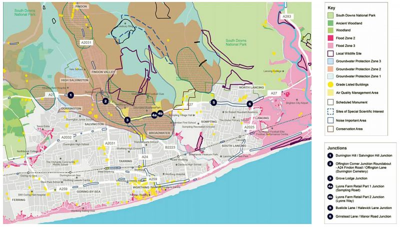 Map showing Worthing area road development plans, with environmental considerations