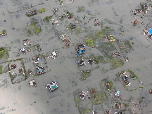 A view from above of Beira, Mozambique, under water after being hit by Cyclone Idai
