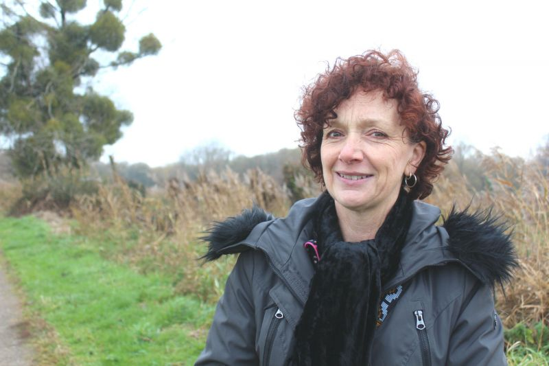 Catherine Linstrum, Chair of CALM, in a country lane facing camera